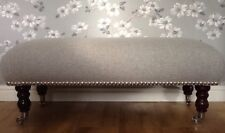 A Quality Long Footstool In Laura Ashley Romney Dove Grey Wool Fabric