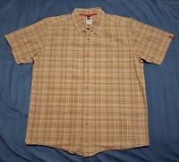 MEN'S THE NORTH FACE Button Up Plaid Checks Tan Shirt Sz L Large w/ Red Buttons