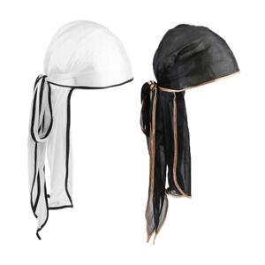 2 Stück Unisex Bandana Hut Seidiger Durag Long Tail Headwrap Chemo