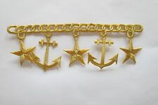 #2314A Gold Trim Fringe,Chain,Star,Marine Anchor Embroidery Applique Patch