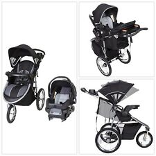 BLACK/GRAY 3-In-1 Baby Trend Jogger Stroller Buggy Travel System Infant Car Seat