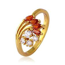Trendy18k Gold Plated copper wrap Women's Ring with White and Red stone -Size 7