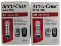 Accu-Chek Aviva Plus 100 Diabetic Test Strips 2-50 Ct Boxes Exp.2-2022+GAF)