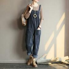 UK Women Autumn Corduroy Sleeveless Straight Trousers Jumpsuits Pocket Playsuits