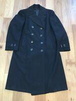 WWII ? era USN US Navy Named Black Cotton Bridge Pea Overcoat Coat 37 REGULAR