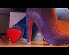 Christian Louboutin Suede Ankle Booties, 37.5/7.5, Purple ~ NIB ~ Retail $1295