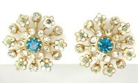 Vintage Signed Coro Gold Azure Blue Rhinestone Enamel Earrings