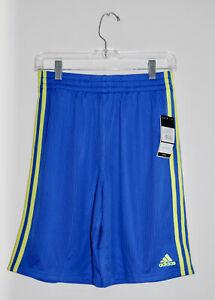 NWT Adidas Big Boys Bright Blue with Yellow Stripes Sport Shorts sz L 14-16