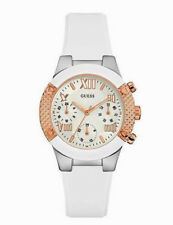 Guess Ladies W0773L1 Multi Dial Rosegold Case Silicone White Band Watch