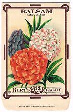 VINTAGE SEED PACKET FLOWERS C1910 GENERAL STORE GARDEN BALSAM FOLK ART ORIGINAL