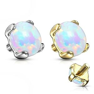 4mm WHITE SYNTHETIC-OPAL DERMAL ANCHOR TOP SOLID 14KT GOLD BODY PIERCING JEWELRY