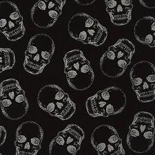 Timeless Treasures Fabric - Metallic Skulls - Black - 100% Cotton