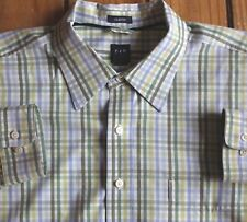 Gap Mens 2XL Green White Blue Check Long Sleeve Button Front Shirt Classic Fit