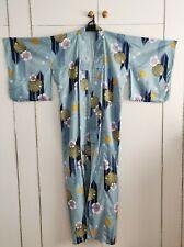 Handmade Kimono Yukata blue cosplay Womens With Yellow Pink Obi Japan