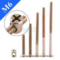 10Pcs M6 40/60/80/90/100mm Galvanized Furniture Bolts with Barrel Nuts Fasteners