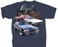 Buick Regal Garage Back Graphic Indigo Heather Men's T-shirt Size XL