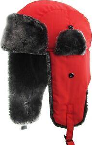 Soft Fur Winter Trapper Hat Ski Trooper Aviator Cap Warm Earflap