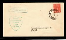 Peru 1928 Pilot Doolittle First Flight Cover from Lima to La Paz, Bolivia