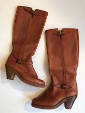 Vintage Town & Country Brown Cognac Leather Knee High Boots Size 7