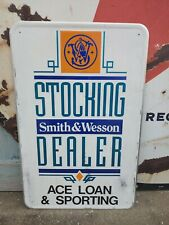 Vintage Smith & Wesson Gun Dealer Sign Ace Loan & Sporting New Albany Indiana IN