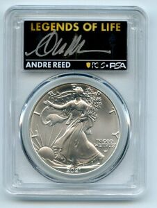 2021 $1 American Silver Eagle Type 2 PCGS PSA MS70 Legends of Life Andre Reed