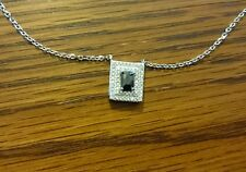Gorgeous black and clear Diamond necklace Sterling Silver BNWT