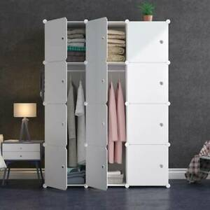 12 Cube Plastic Storage Wardrobe Clothes Organizer Closet Cupboard Shoe Cabinet
