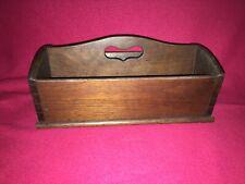 Antique Primitive Wooden Utensil Knife Box w/Decorative Handle Dovetail Walnut
