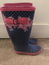 Pink Floral Poka Dot Wellington Boots Wellies Size 3