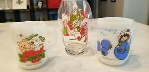 Vintage Strawberry Shortcake Coffee Mugs Pupcake and Custard, Huckleberry Pie