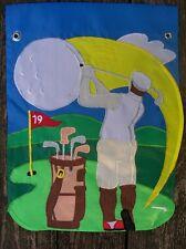 "Golf Man Swings Ball at Tee, Summer, Every day sewn Garden Flag 12.5""x18"""