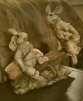 Vintage Chrisdon Playful Bunny Rabbits Figurines On A Log Seesaw