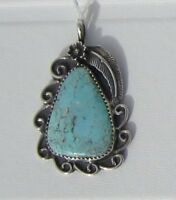 Signed Sterling Silver and Light Blue Turquoise Pendant , Lots of Extra Details
