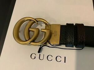 Men's Authentic Gucci Reversible Leather Belt with Double G Buckle, Size 95
