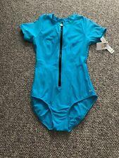 NWT  Next By Athena Womens Zip One Piece Swim SPF 50+ Turquoise Blue Size S