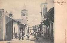 Tunis Tunisia Rue Sidi Mahres Street Scene Antique Postcard J66464