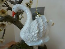 Gisela Graham Moulded Resin Swan Christmas Dec (9.5cm)