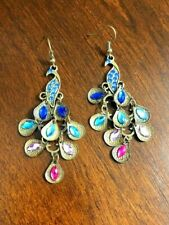 Dangle Earrings Rhinestone Peacock