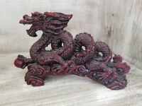 Vintage Antique Red Dragon Resin Carving made in China