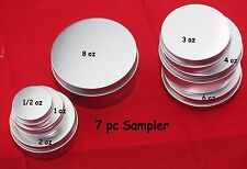 NEW 1/2,1,2,3,4,6 & 8oz ALUMINUM EMPTY SCREW TOP TIN CAN W/LINER SAMPLER CRAFTS