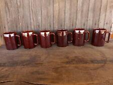 6 Vintage Pabst Blue Ribbon Milwaukee Wi Beer Mugs Tap Room Bar Brown Man Cave