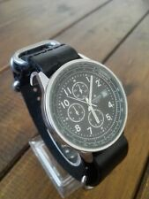 Excellent Junghans Chronograph Watch In VGC Black leather Strap