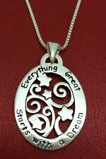 Sterling Silver Everything Great Starts With a Dream Necklace 925 Tree Friends