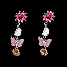 Boucles d'oreille pendante, strass pierre, papillon, marguerite Bijoux fantaisie