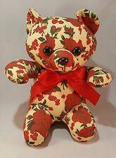 "Vintage Milaca Mills Stuffed Plush Flowered Red Rose and Ribbon Teddy Bear 9"""