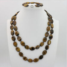 Tiger stone oval shape 13X18mm beads necklace 50 inch bractele 7.5 inch JN1470