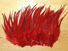 """1/4 oz. Strung Red Saddle Hackle Feathers Fly Tying (5-7"""" in length)"""