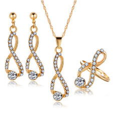 Fashion Bridal Crystal Infinite Necklace Earrings Rings Wedding Jewelry Set