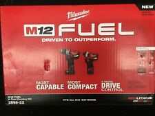 Milwaukee 2598-22 M12 FUEL 2-Tool Hammer Drill and Hex Impact Driver Kit-NEW