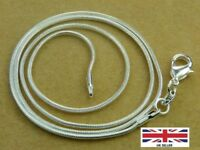 "925 Sterling Silver Thin Round Snake Chain Necklace 1.2 MM Length 16"" Inches"